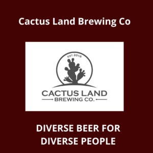 Cactus Land Brewing Company's white and black logo.