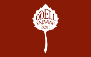 Odell Brewing Co's red and white leaf logo.