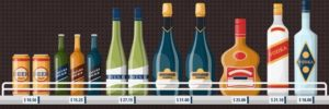 beer and wine on a shelf with prices