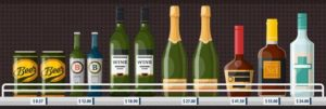 beer wine alcohol bottles on shelf with prices
