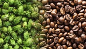 hops and coffee beans